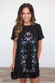 floral embroidered dress black