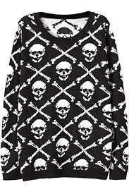 skull sweater black skull bone pattern neck sleeve sweater