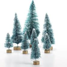 assorted frosted green bottle brush trees christmas miniatures