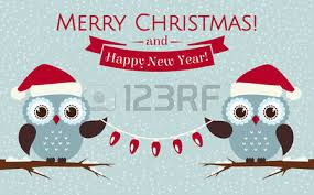 merry christmas and happy new year greeting card with cute owls