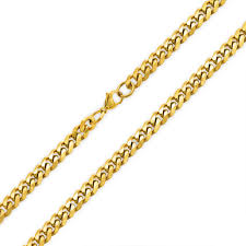 gold chain necklace men images Mens gold plated stainless steel curb cuban chain necklace 8mm jpg