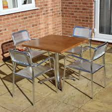 Square Bistro Table Square Aluminium Bistro Set For 4 Table And 4 Stacking Metal Chairs
