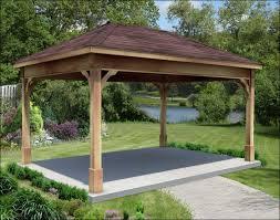 14x14 Outdoor Gazebo by Rough Cut Cedar Single Roof Open Rectangle Pavilions Pavilions