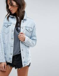 light wash denim jacket womens more selection new look bling 80s wash denim jacket color light