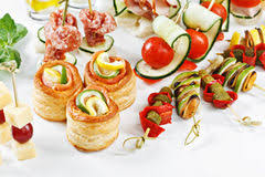 canapes m up view set of canapes with vegetables salami seafood m