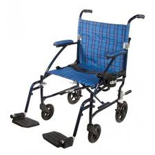 19 inch fly lite aluminum transport chair by drive dfl19 bl