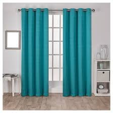 3 Panel Window Curtains Virenze Faux Silk Window Curtain Panel Pair Teal 54