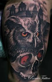 skull arm sleeve 58 best skull owl tattoos collection