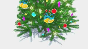 Decorative Definition Decorated Christmas Tree With Red Star On Its Top Drops From The