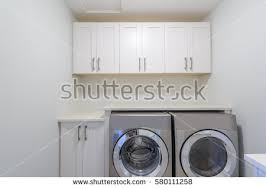 Laundry Room Cabinet With Sink Empty Laundry Room Cabinet Sink Washer Stock Photo 580111258
