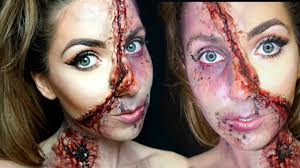 half halloween makeup half glam half zombie gore halloween makeup tutorial the