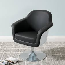 Black Leather Accent Chair Corliving Mod Modern Black And White Bonded Leather Accent Chair