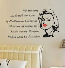 ravishing marilyn monroe quote decal decoration marilyn monroe full size of decoration amazing marilyn monroe quote decal bedroom decor ideas face and red
