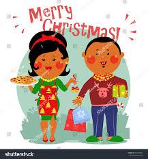 Christmas Invitation Card Cartoon People Merry Christmas Invitation Card Stock Vector
