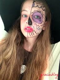Sugar Skull Halloween Makeup Tutorial by Happy Halloween Half Sugar Skull Makeup Tutorial U2013 Gracie Blog