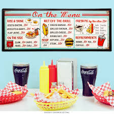 retro kitchen decor and 1950 kitchen tables and accessories at on the menu diner food prices tin sign