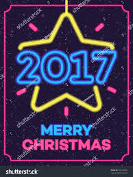 christmas greeting card neon style wish stock vector 507106699