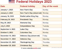 holidays 2023