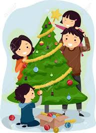 family decorating christmas tree clipart clipartxtras