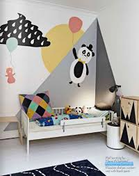 mur chambre enfant chambre enfant déco murale peinture blanc gris jaune noir room
