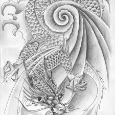 japanese dragon n skull tattoo design photos pictures and