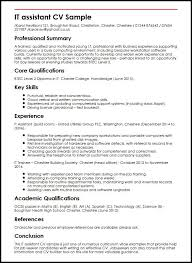 resume exles for assistant it assistant cv sle myperfectcv