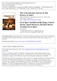 elite sport and nation building in south korea south korea as the