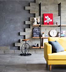 living room concrete wall industrial bedroom design bb italia