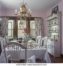 stock photo of dining rooms vintage curtains shabby chic