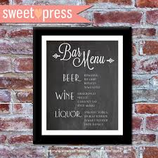wedding bar menu template printable custom wedding bar menu diy chalkboard idealpin