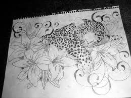 Leopard Print Flower Tattoos - sleepy leopard and lillies by brittneystar on deviantart