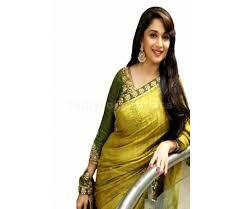 bollywood style madhuri dixit bhagulpuri silk saree in lime green