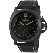 peugeot black multi function leather men u0027s watch w crown guard by peugeot silver