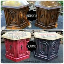 side table paint ideas hexagon side table makeover rustoleum spray paint hexagon sides