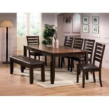 shaker espresso 6 piece dining table set with bench 6 piece dining set with bench sumr info