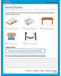 naming pictures u2013 free vocabulary worksheet for kindergarten