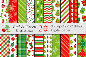 christmas pattern red green red and green christmas digital paper s design bundles