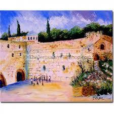 jerusalem western wall israel original painting holy land
