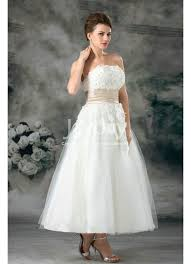 tea length wedding dresses uk line strapless applique tulle ivory tea length wedding dresses