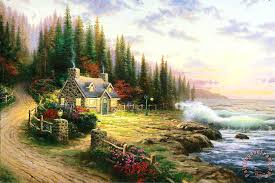 kinkade pine cove cottage painting pine cove cottage