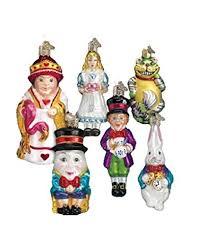 old world christmas alice in wonderland ornament set hand