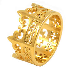 king and crown wedding rings stainless steel jewelry gold plating or king crown ring in