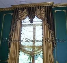 layered swag jabot u0026 panels w crown molding continuing from walls