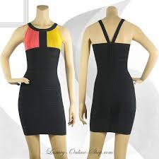 online herve leger bandage dresses halter orange yellow black