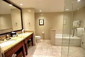 Large Living Room Mirror by Frameless Showerbath White Porcelain Bathtub Beige Stain Wall