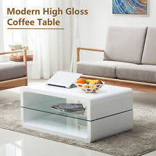 glossy white coffee table modern high gloss white coffee table storage space w 2 shelves