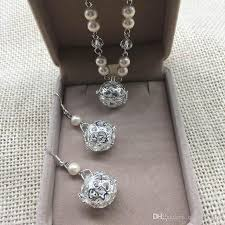 pendant necklace earring images 2018 fashion long pearl cages pendants necklaces earrings sets jpg
