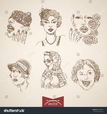 tattoo sketch pretty girls portrait icon stock vector 443394019