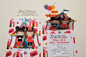jingvitations mickey mouse and minnie mouse circus invitations