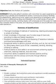 Resume For Custodian Custodial Worker Resume Sample It Resume 20 Example It Resumes